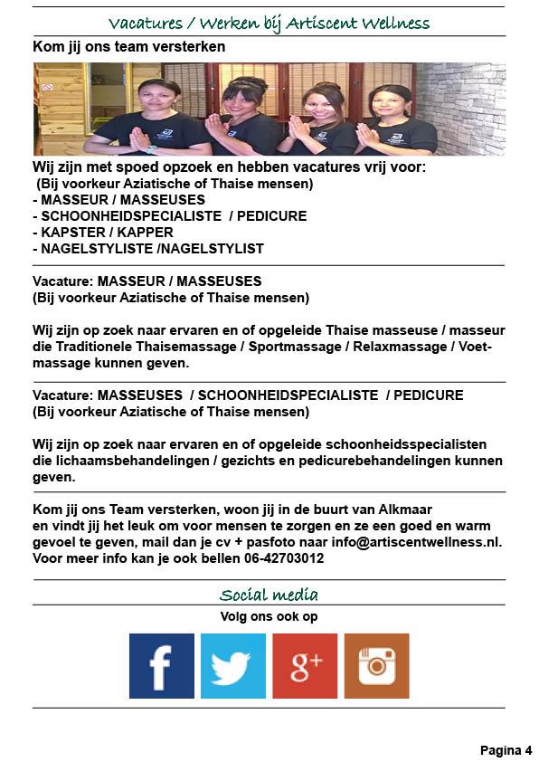 Nieuwsbrief en Beauty Spa en Massage Acties Mei 2019 Artiscent Wellness Alkmaar