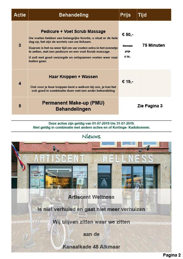 Nieuwsbrief en Beauty Spa en Massage Acties Juli 2019 Artiscent Wellness Alkmaar