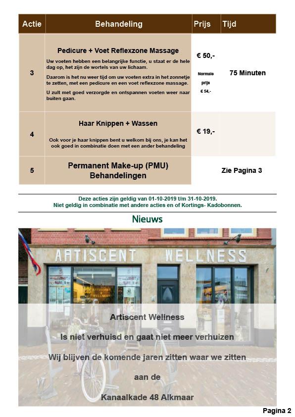 Nieuwsbrief en Beauty Spa en Massage Acties Oktober 2019 Artiscent Wellness Alkmaar