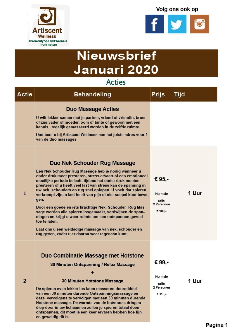Nieuwsbrief en Beauty Spa en Massage Acties Januari 2020 Artiscent Wellness Alkmaar