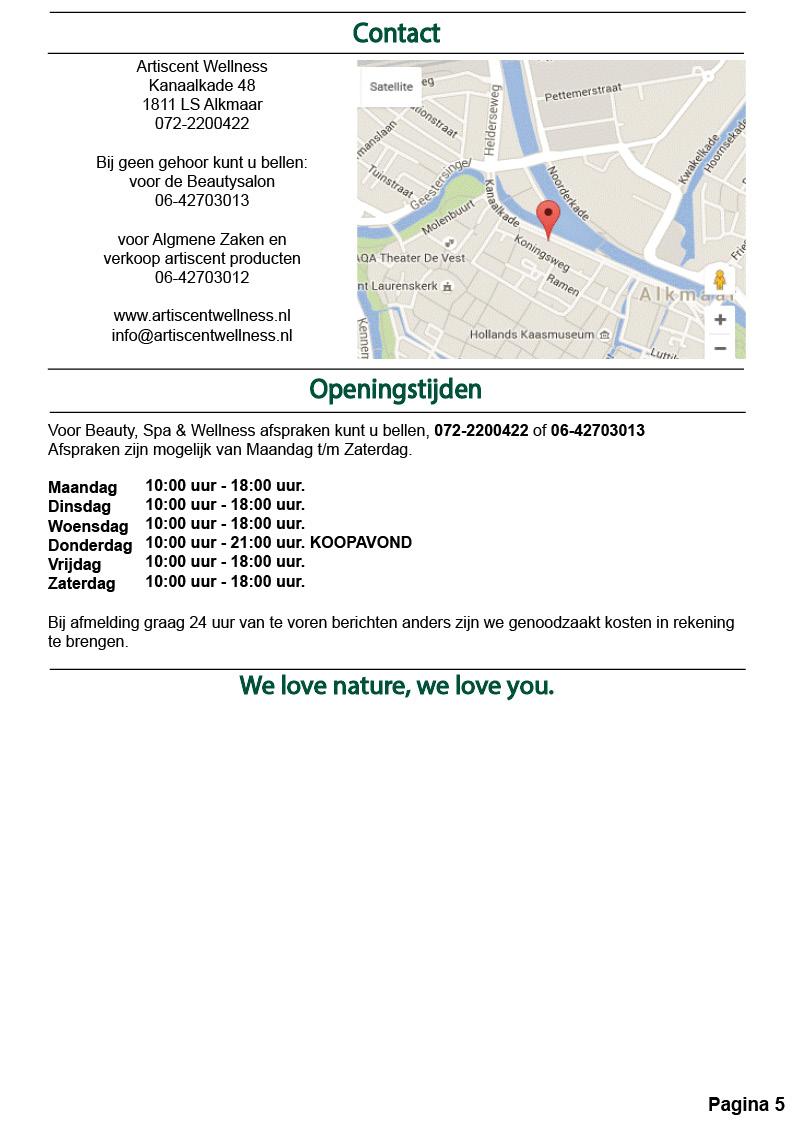 Nieuwsbrief en Beauty Spa en Massage Acties Maart 2020 Artiscent Wellness Alkmaar
